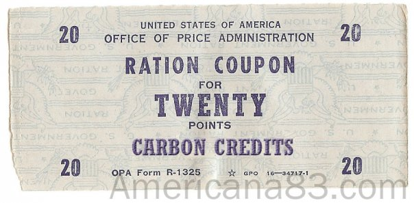 unofficial carbon credit ration coupon, based on WWII ration coupon